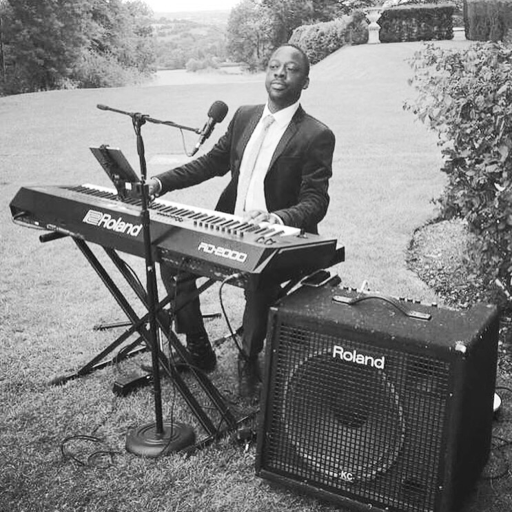james and keyboard outdoors